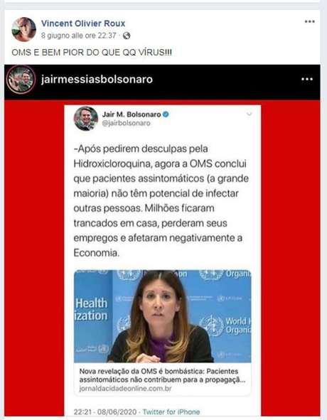"""No facebook, ele replicou postagem do presidente Jair Bolsonaro, e acrescentou: """"OMS é bem pior do que qualquer vírus"""""""