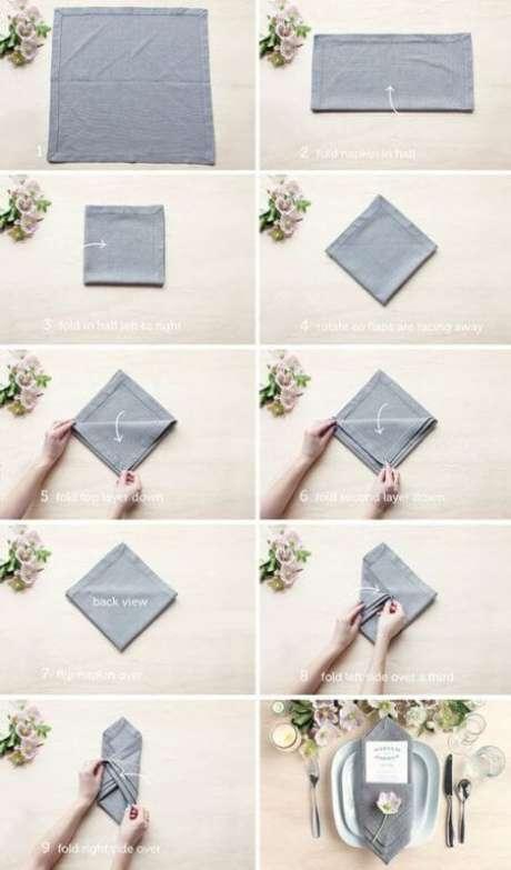 8. Como dobrar guardanapo de tecido para jantar – Via: Pinterest