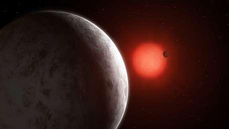 Por causa da proximidade à estrela GJ 887, os planetas têm órbitas mais curtas do que a que Mercúrio faz ao redor do Sol.