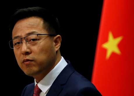 Porta-voz do Ministério das Relações Exteriores da China, Zhao Lijian, durante briefing à imprensa em Pequim 08/04/2020 REUTERS/Carlos Garcia Rawlins