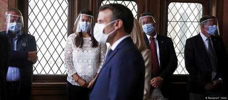 Macron durante as eleições de domingo. Partido do presidente sofreu com a impopularidade do governo