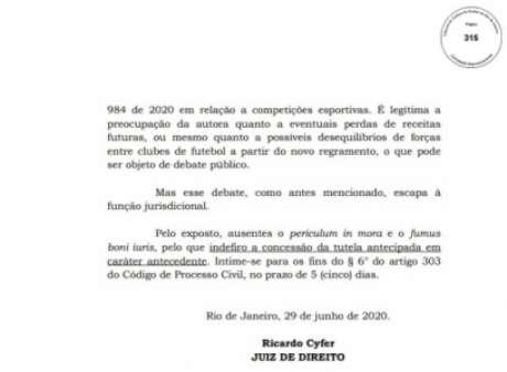 Decisão do juiz Ricardo Cyfer (Foto: Reprodução)