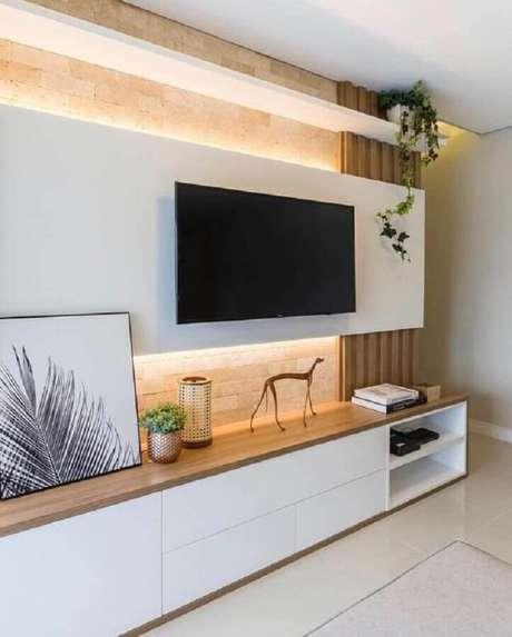 2. Rack com painel para decoração de sala moderna – Foto: Decostore