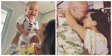 A atriz com seu filho, Joaquim; ao lado, com o marido, Leonardo Lessa
