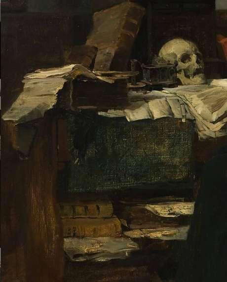 Detalhe da pintura de 1874, 'Absorvido em seus estudos', de Eilif Peterssen, que estána conta 'MyFairestTreasure' do Instagram administrada pelos cultuadores do grupo Dark Academia.