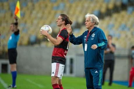 O técnico Jorge Jesus no comando pelo Rubro-Negro (Foto: Alexandre Vidal/Flamengo)