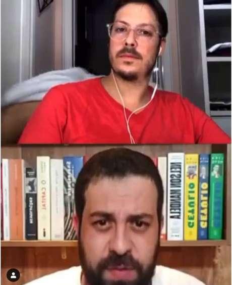 O apresentador e humorista Fábio Porchat realizava uma live na noite desta sexta-feira, 3, com Guilherme Boulos, quando foi surpreendido por uma sua esposa Nataly Mega seminua passando por trás da câmera.