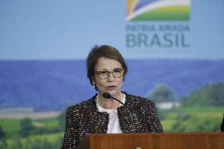 A ministra da Agricultura, Pecuária e Abastecimento, Tereza Cristina, durante evento de lançamento do Plano Safra