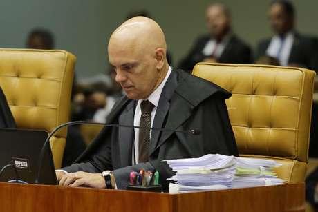 O Ministro Alexandre Moraes durante votação no Supremo Tribunal Federal (STF) em Brasíllia (DF)