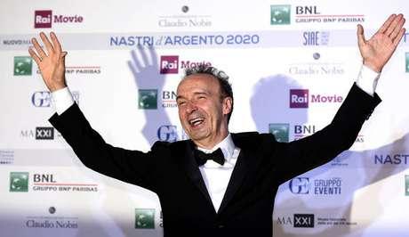 """O ator italiano recebeu o prêmio por sua interpretação de """"Geppetto"""", em """"Pinóquio"""""""