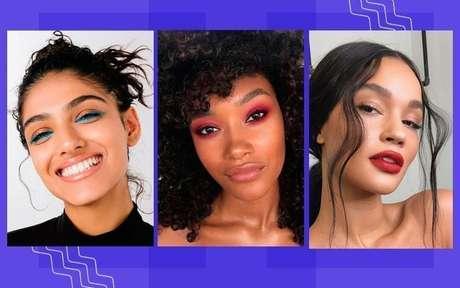 Montagem com fotos de mulheres usando sombra colorida