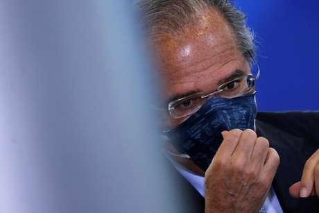 Ministro Paulo Guedes, durante evento no Palácio do Planalto 17/6/2020 REUTERS/Adriano Machado