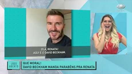 Renata ficou de queixo caído ao ver Beckham (Foto: Reprodução/ Band)