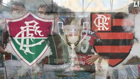 Flamengo, dono da melhor campanha e campeão da Taça Guanabara, enfrenta o Fluminense no Maracanã: o Tricolor é o mandante da final da Taça Rio e precisa da vitória para forçar mais dois clássicos pelo Carioca (Foto: Arte/Lance!)
