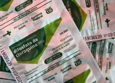 Pacotes de cloroquina distribuídos pelo Ministério da Saúde em hospital de Porto Alegre 26/05/2020 REUTERS/Diego Vara