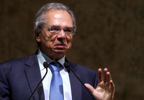 """O ministro da Economia, Paulo Guedes, durante o seminário """"A Nova Economia Liberal"""""""