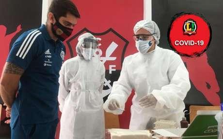 Comissão do Flamengo avalia testes em combate à Covid-19 no CT (Foto: Reprodução/Twitter Oficial Flamengo)