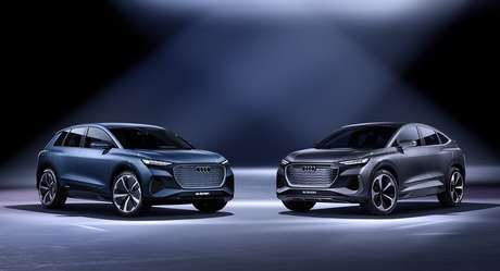 Audi Q4 Sportback E-tron (à direita) foi apresentado junto com seu irmão gêmeo Q4 E-tron.