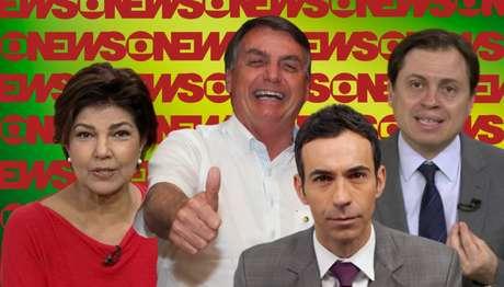 Bolsonaro entre Cristiana Lôbo, César Tralli e Gerson Camarotti: o presidente tem sido duramente criticado pelos comentaristas da GloboNews