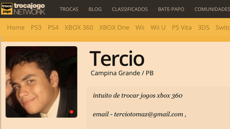 Perfil de Tercio em site de videogame mostra mesmo e-mail usado em perfil de Instagram Bolsonaro Newsss