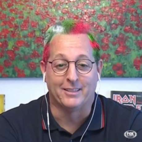 Benjamin Back com o cabelo nas cores do Fluminense (Reprodução/ Fox Sports)