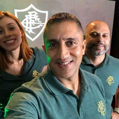 Claudia Magalhaes, Anderson Cardoso e Marcello Pires participaram da transmissão da FluTV (Foto: Reprodução)