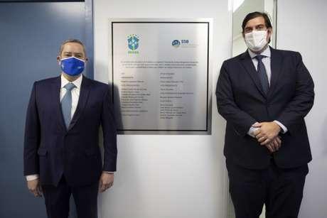 Rogério Caboclo, presidente da CBF, e Paulo César Salomão Filho, presidente do STJD (Créditos: Lucas Figueiredo/CBF)