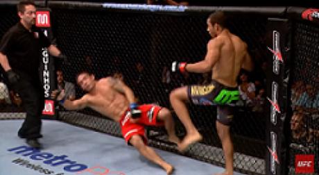Nocaute sobre Chad Mendes é um dos mais marcantes da carreira de Aldo (Foto: Reprodução/YouTube/UFC)