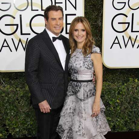 John Travolta e a esposa Kelly Preston
