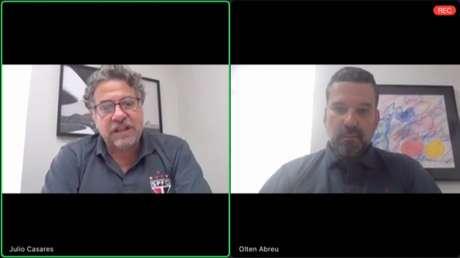Julio Casares e Olten Ayres no lançamento do plano de gestão, feito pela internet (Imagem: Reprodução)