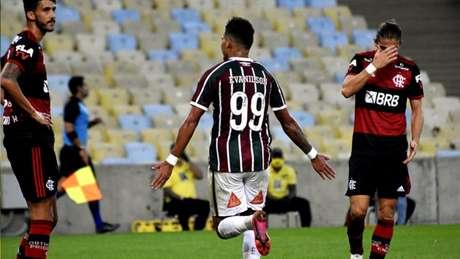 Evanílson comemorando seu gol contra o Flamengo (Foto: MAILSON SANTANA/FLUMINENSE)