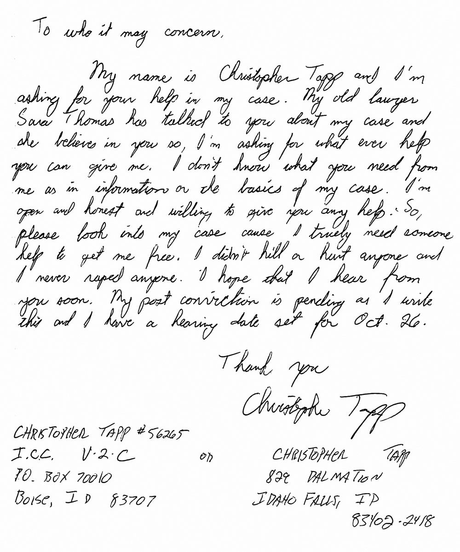 Tapp procurou ajuda especializada para provar sua inocência.