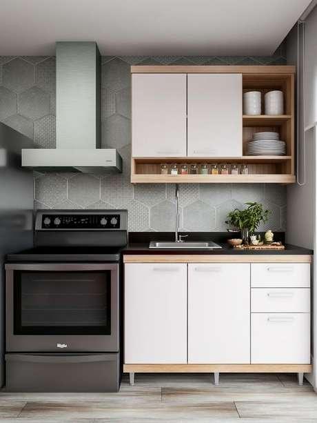 55. Cozinha branca modulada – Via: Pinterest