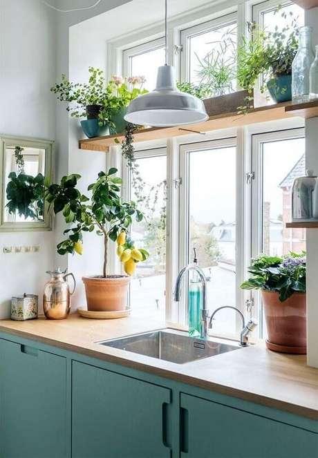 70. Cozinha pequena em tons verdes e decorada com muitas plantas! – Via: Revista VD