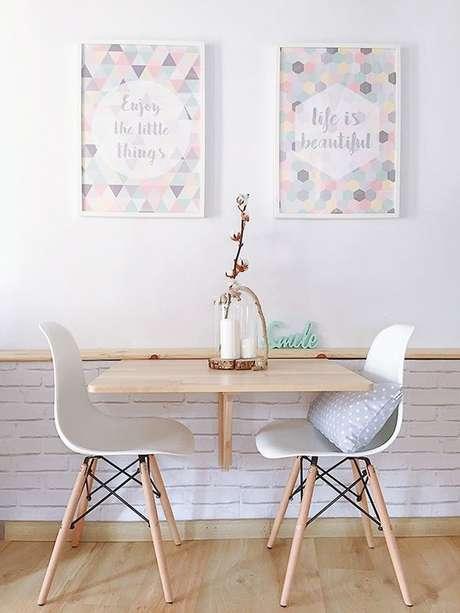 12. mesa para cozinha pequena 2 lugares – Via: Boho deco chic