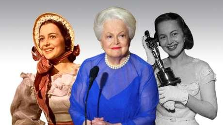 Olivia de Havilland aos 26 anos, como Melanie em E o Vento Levou; no Oscar de 2003, prestes a completar 87; e ao ganhar a segunda estatueta, em 1950