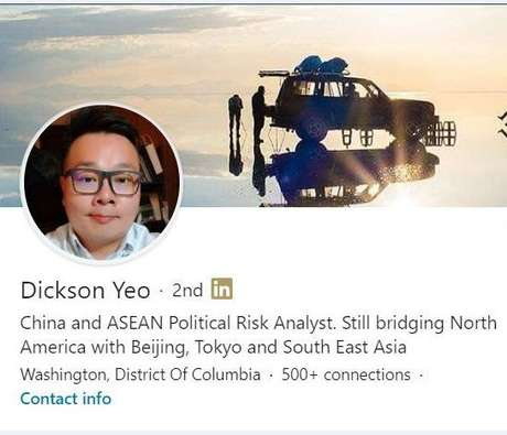 A screenshot of Dickson Yeo's now-deleted LinkedIn profile