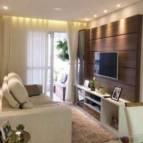 3. Móveis para sala pequena decorada em cores neutras – Foto: Dcore Você