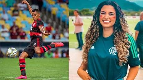 Pedro Rocha e Julie Santos fazem dobradinha de lives com o L! (Alexandre Vidal / Flamengo; Reprodução/Twitter)