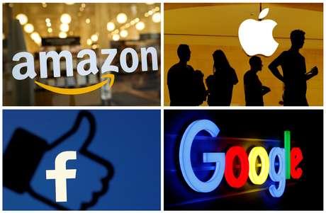 Logotipos de Amazon, Apple, Facebook e Google. REUTERS