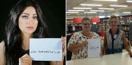 Cantora Ghezaal Enayat (esq.) e ativistas mostram cartazes a favor da campanha WhereIsMyName?