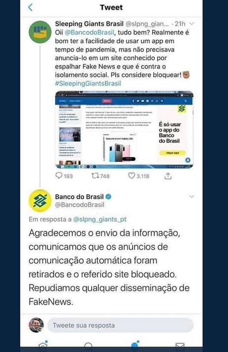 Site alerta BB sobre publicidadeem site acusado de disseminarfake news, eBB respondeu ao perfil também pelo Twitter:'Repudiamos qualquer disseminação de fake news'
