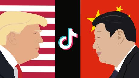 Ilustração do TikTok e presidentes dos EUA e China.