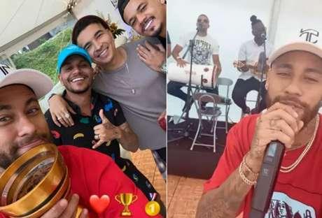 Neymar comemorou o triplete da temporada ao lado dos amigos e jogadores (Foto: Reprodução)