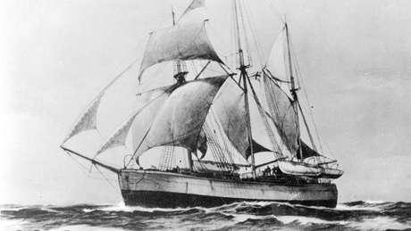 O Fram, navio do aventureiro norueguês Fridtjof Nansen, foi pego em 'água morta' nas águas do Ártico em 1893