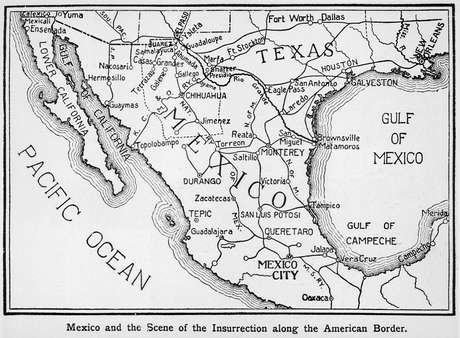 Mapa da fronteira entre México e EUA em 1911