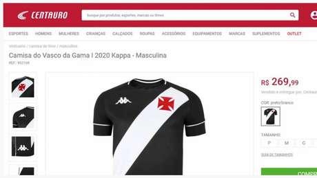 Novas camisas do Vasco entraram ao ar em site antes de lançamento oficial do clube (Foto: Reprodução)