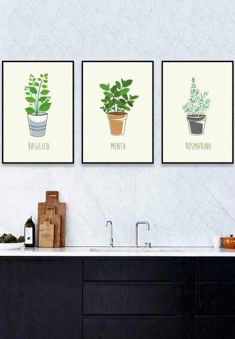 53. Ervas e temperos representados em quadros decorativos para cozinha. Fonte: Pinterest