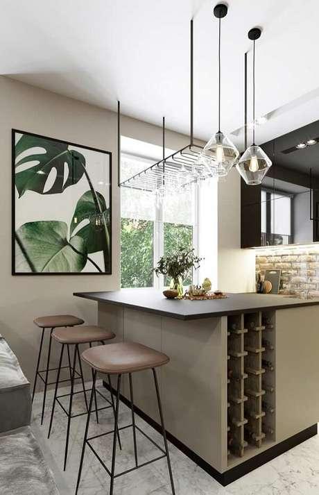 24. Quadro para decorar cozinha com gravura de folha. Fonte: Pinterest