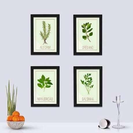 21. Quadros decorativos para cozinha com ervas e temperos. Fonte: Pinterest